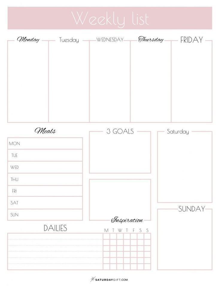 Printable Weekly Planner Template Printable Weekly List Planner How to Have A Productive