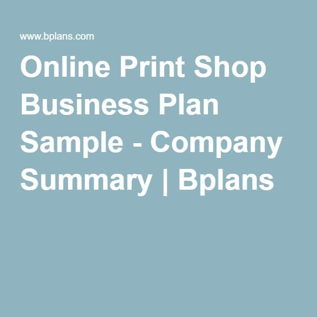 Printing Business Plan Template Line Print Shop Business Plan Sample Pany Summary