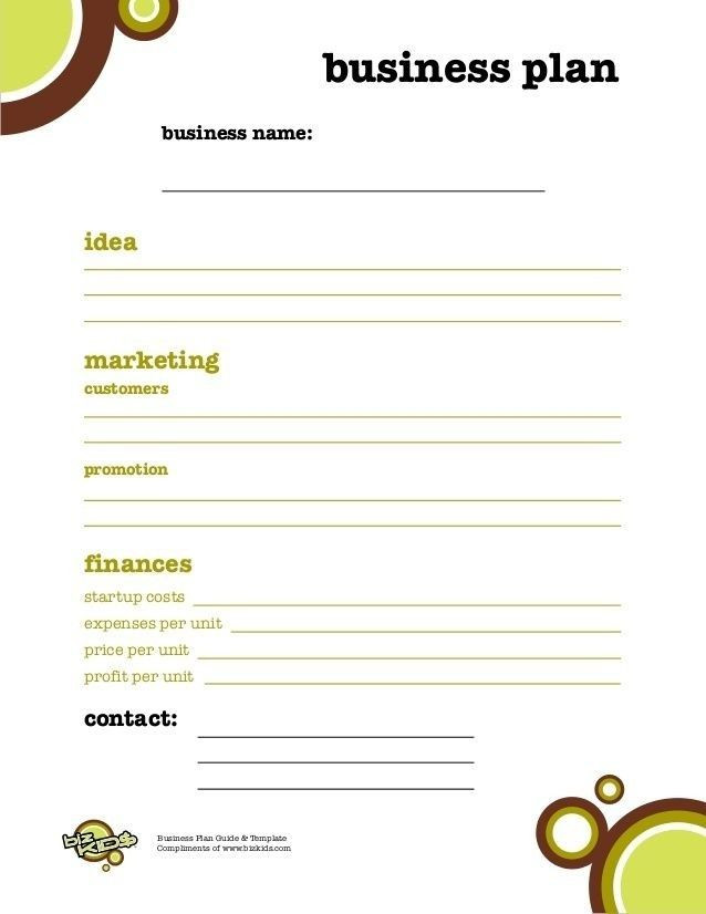 Private Practice Business Plan Template Business Plan Template for Kids Business Plan for Kids
