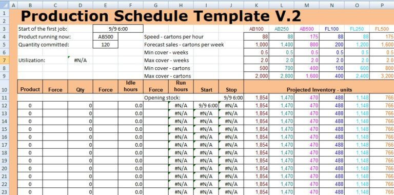 Production Planning Excel Template Production Schedule Template Excel