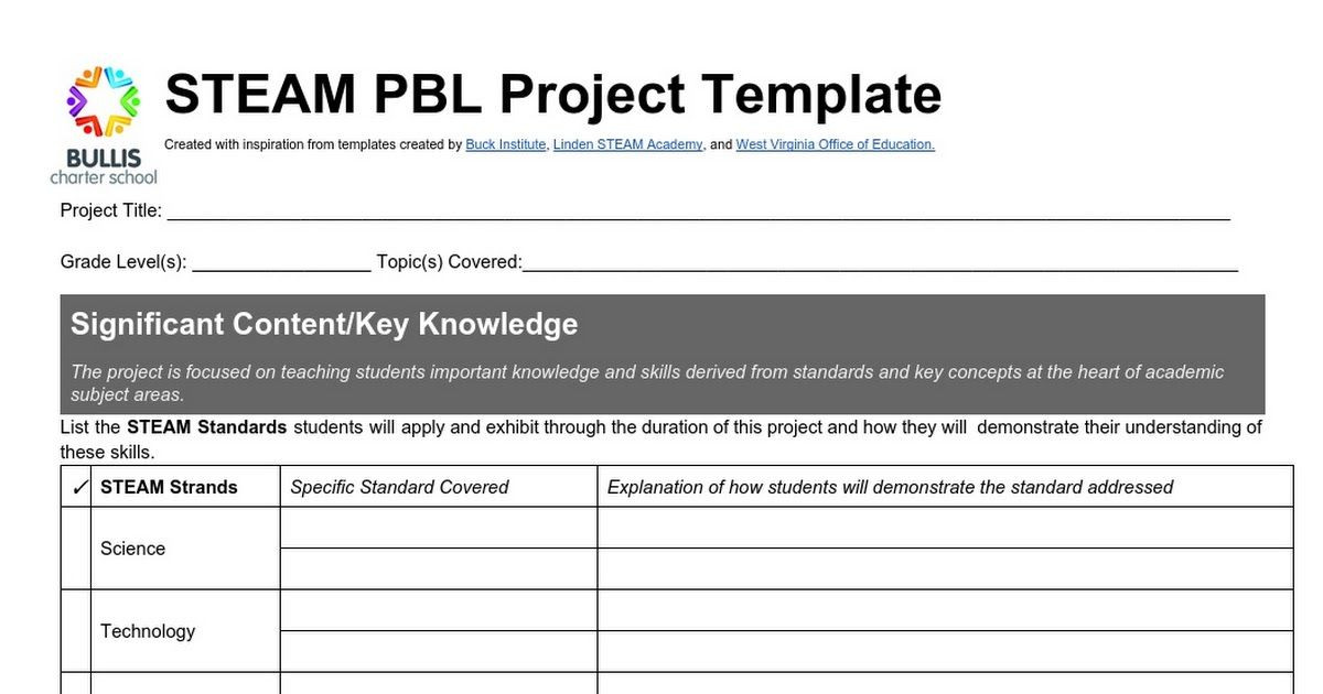 Project Based Learning Planning Template Bcs Steam Pbl Template Landscape 2015