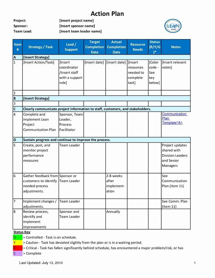 Project Management Action Plan Template Project Action Plan Template Fresh Action Plan with Tar