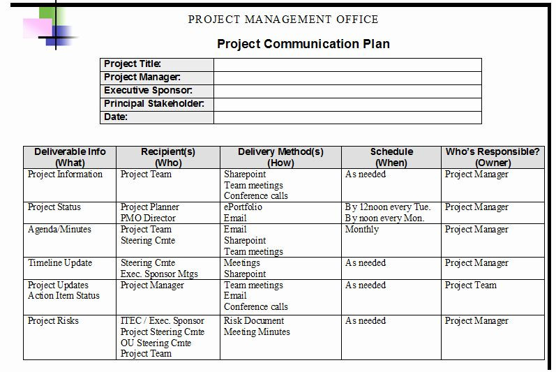 Project Management Action Plan Template Project Management Munication Plan Template Luxury