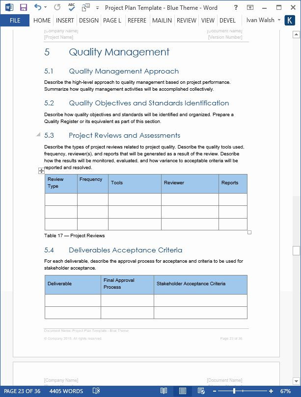 Project Plan Template Word Project Management Plan Template Elegant Project Plan
