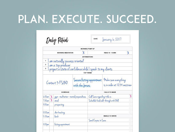 Real Estate Daily Planner Template 2020 Real Estate Planner Goal Setting Printables Instant