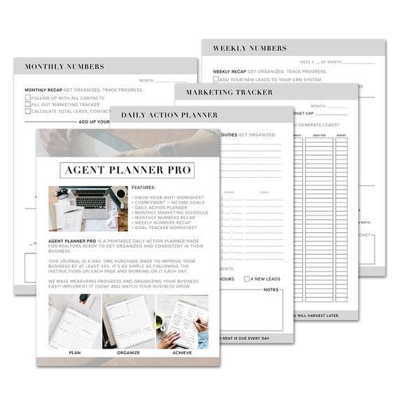Real Estate Daily Planner Template Real Estate Agent Planner Pro original Digital Version