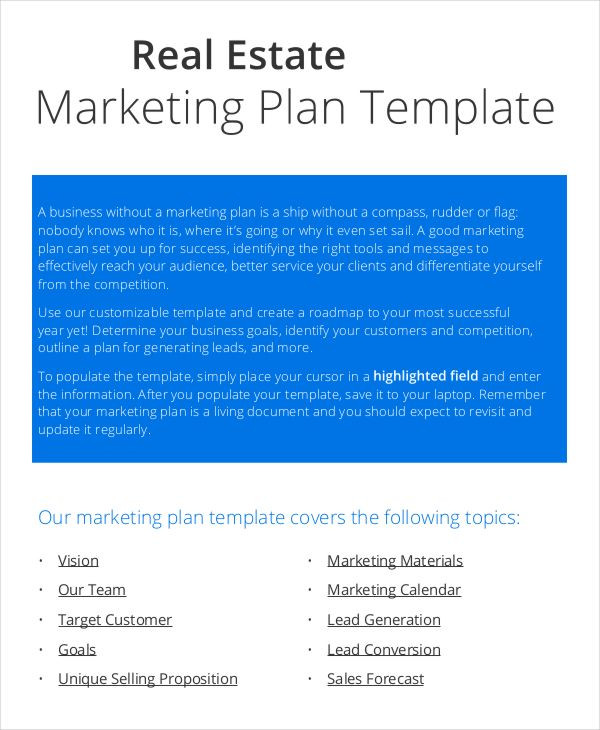 Real Estate Marketing Plan Template Psd Word Free & Premium Templates