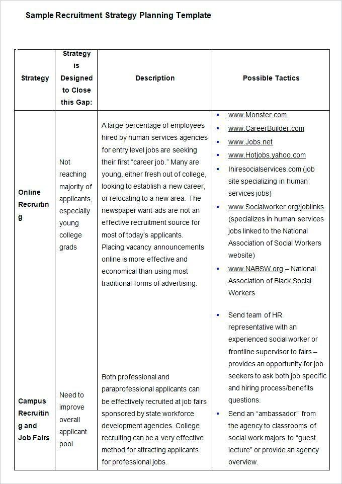 Recruitment Plan Template Excel Hiring Plan Template Sample Recruitment Strategy Plan