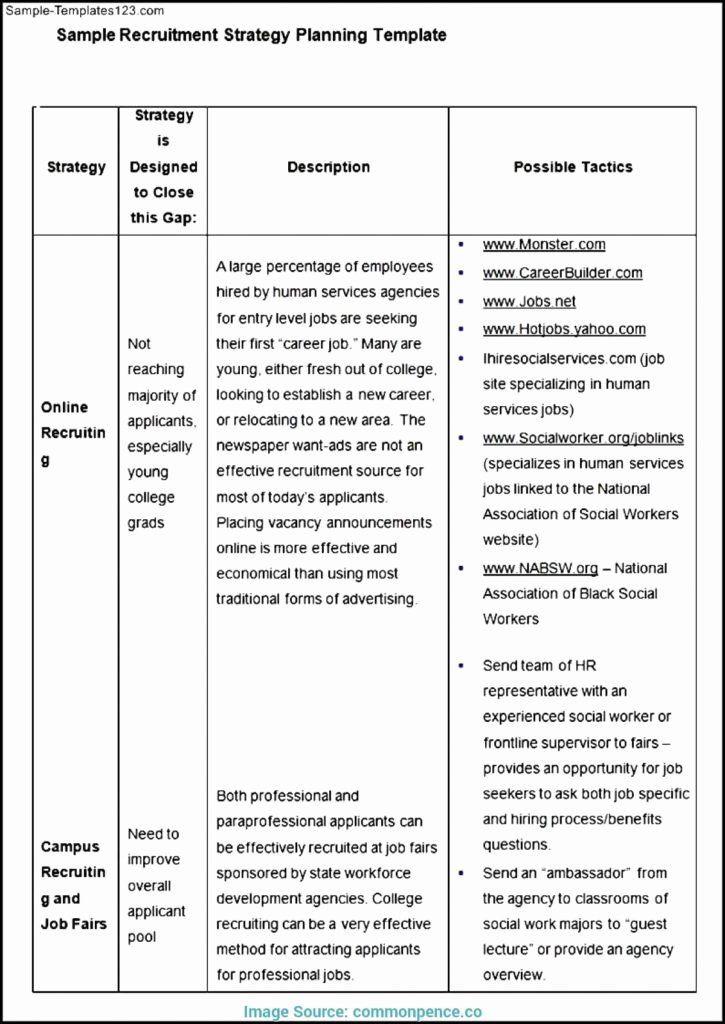 Recruitment Plan Template Excel Recruitment Strategy Plan Template Inspirational Strategic