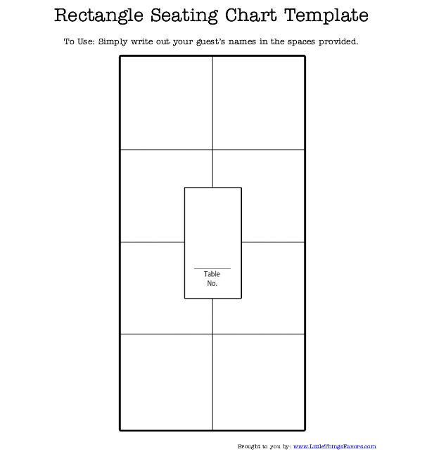 Rectangle Table Seating Plan Template Free Printable Rectangle Seating Chart for Weddings and