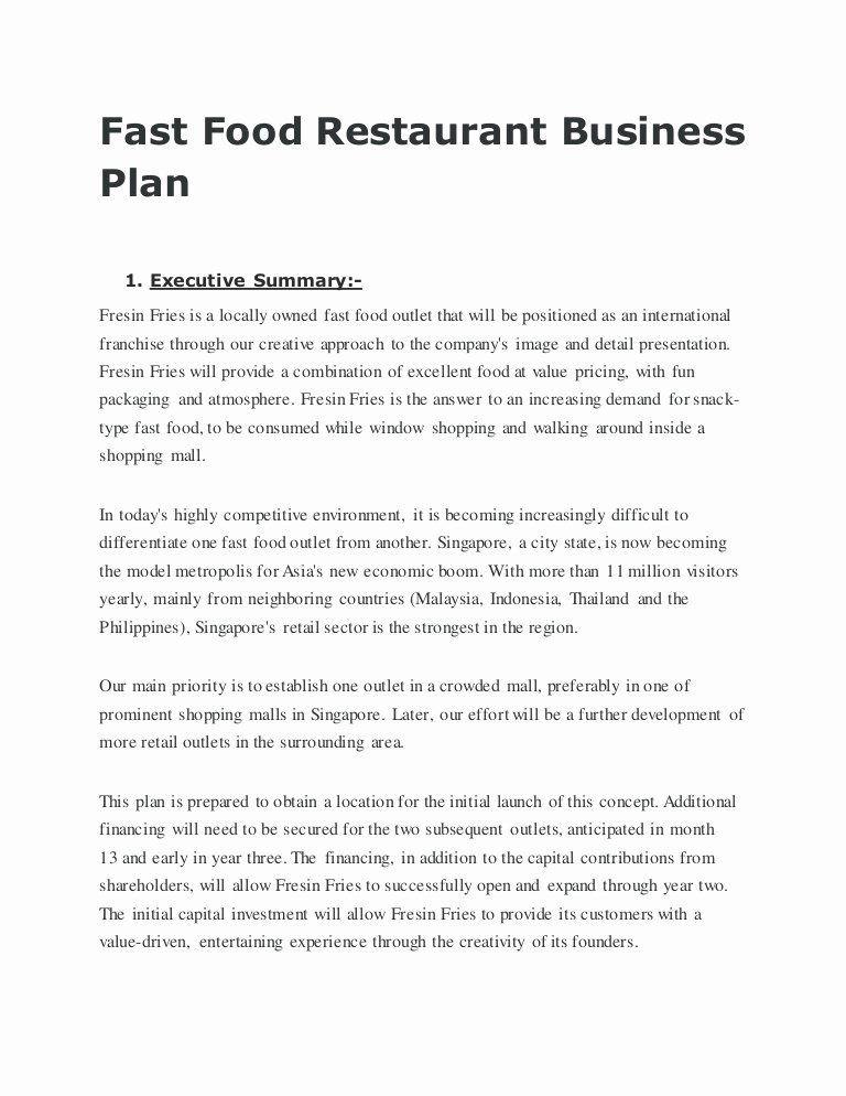 Restaurant Business Plan Template Pdf Business Plan Template Restaurant Unique Fast Food