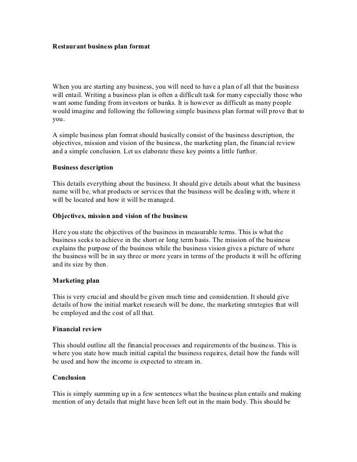 Restaurant Business Plan Template Pdf Restaurant Business Plan format 1 728 728—943