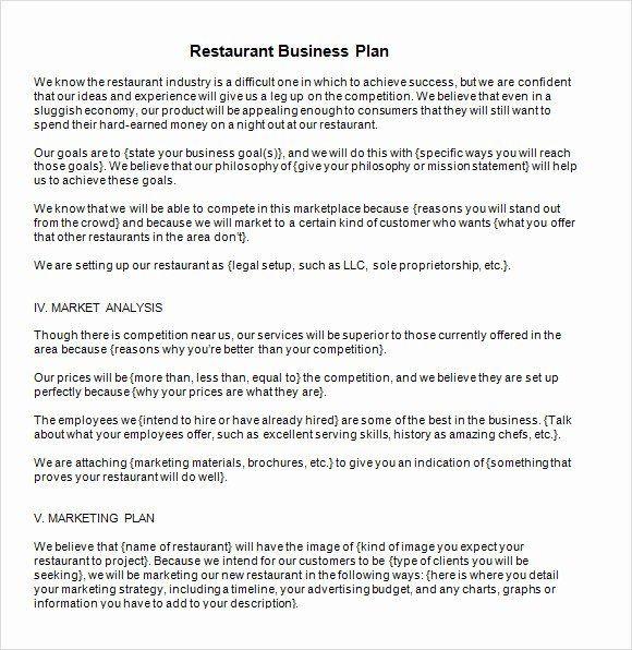 Restaurant Business Plan Template Pdf Restaurant Marketing Plan Template Best 13 Sample