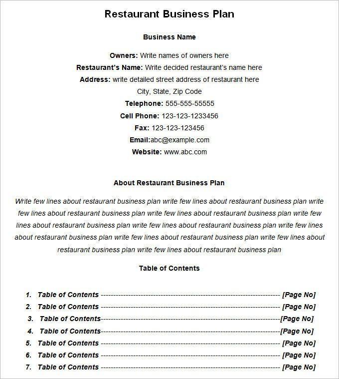 Restaurant Business Plan Template Word Restaurant Business Plan Template Word Unique Restaurant