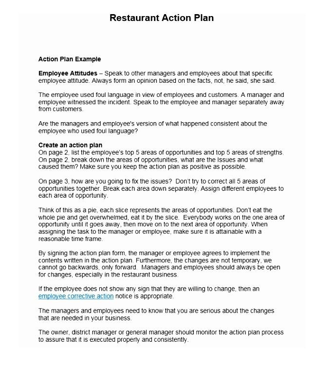 Restaurant Business Plan Template Word This is A Restaurant Action Plans Template You Can