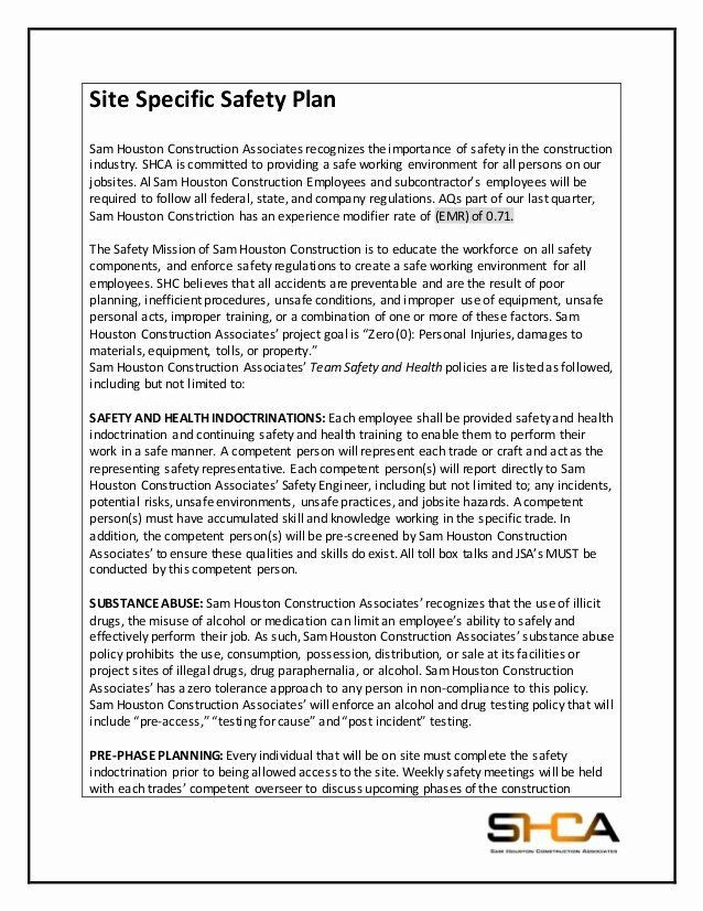 Safety Plan Template for Youth Site Safety Plan Template Elegant Safety Based Estimation