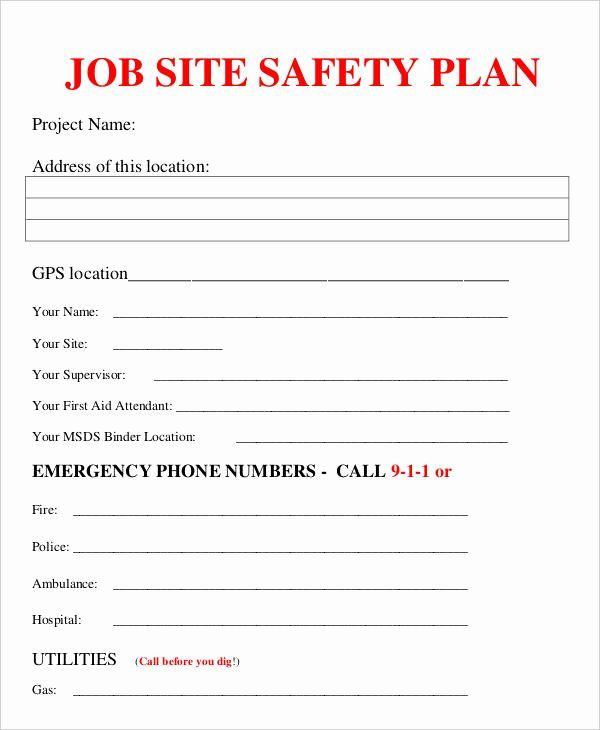Safety Plan Template for Youth Site Specific Safety Plan Template Beautiful Job Plan