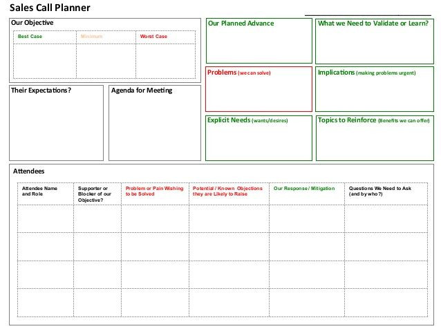 Sales Call Planner Template Sales Call Planner tool In 2020