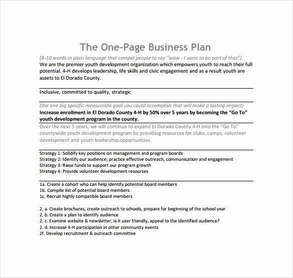 Salon Business Plan Template Free 1 Page Business Plan Template Beautiful 10 E Page Business
