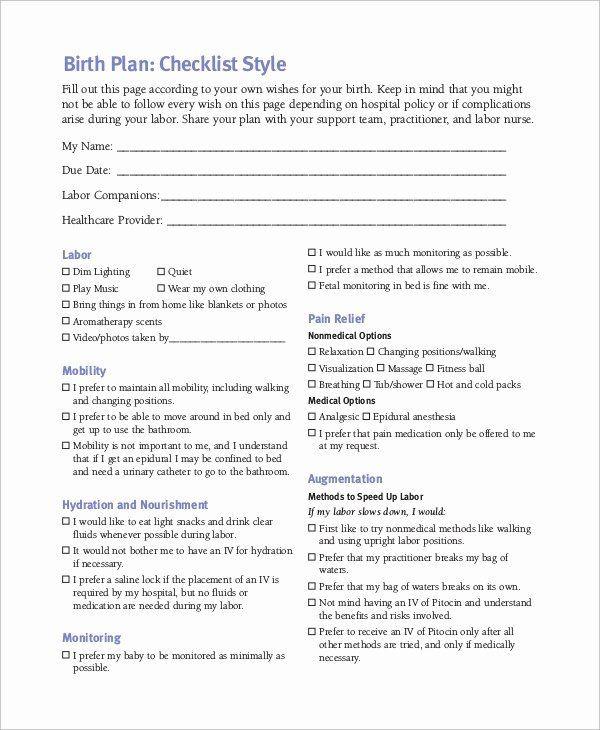 Sample Birth Plan Template Sample Birthing Plan Template Inspirational Birth Plan