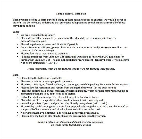Sample Birth Plan Template Sample Hospital Birth Plan Template