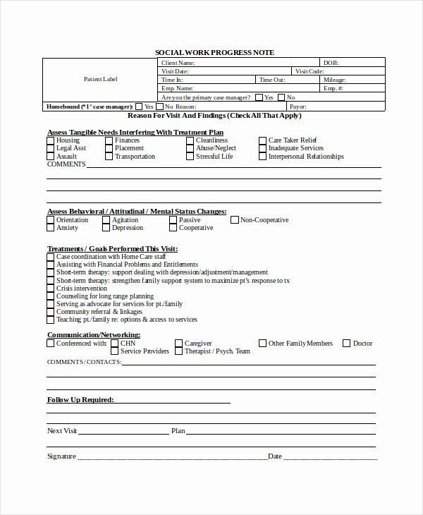 Sample Treatment Plan Template social Work Case Notes Template Best therapy Notes