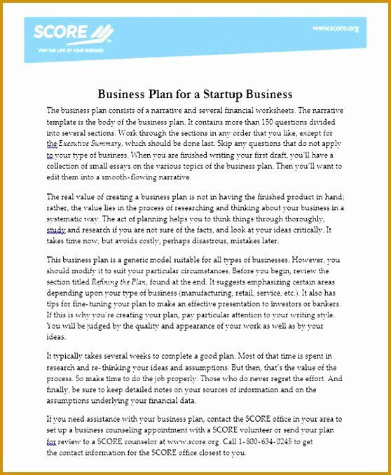 Scores Business Plan Template Score Business Plan Templates New 4 Score Financial