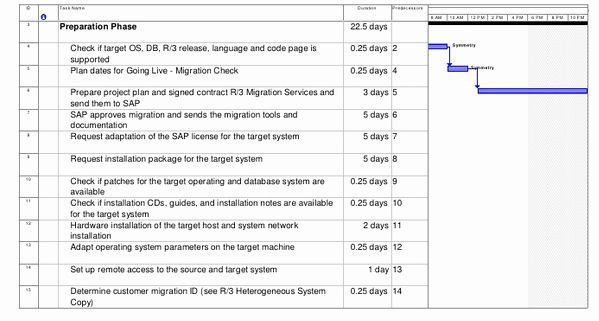 Server Migration Project Plan Template Migration Project Plan Template Best Sap Os Db Migration