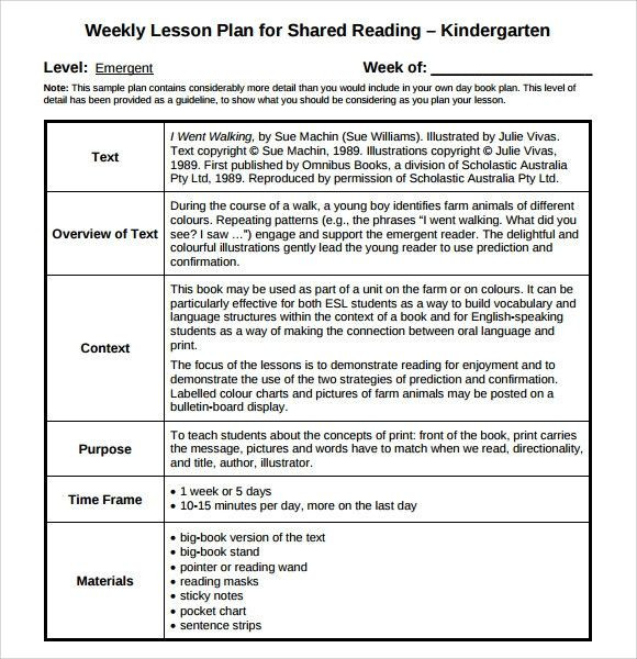 Shared Reading Lesson Plan Template D Reading Lesson Plan Template Lovely 9 Sample Guided