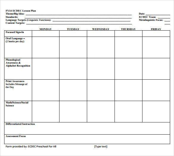 Simple Preschool Lesson Plan Template Simple Preschool Lesson Plan Template Inspirational Sample