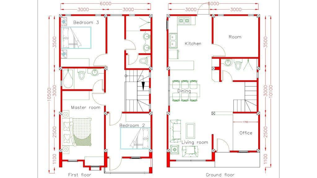 Sketchup Floor Plan Template Home Design Plan 6x10m