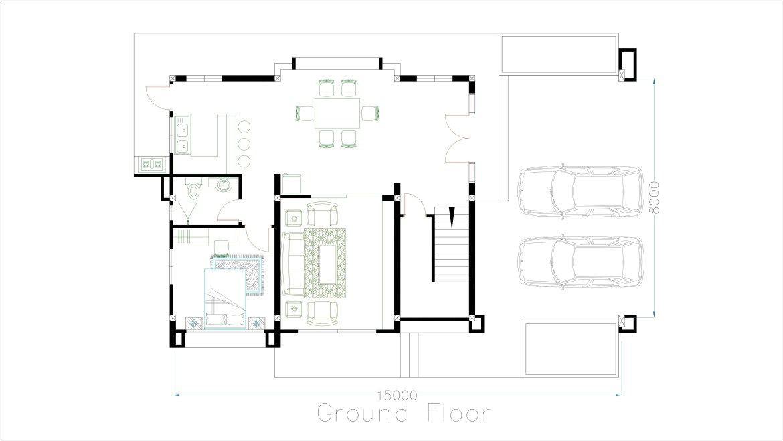 Sketchup Floor Plan Template Sketchup 5 Bedrooms House Plan 8x15m Samphoas Plansearch
