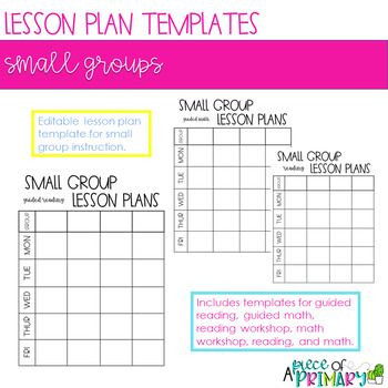 Small Group Planning Template Editable Small Group Lesson Plan Template
