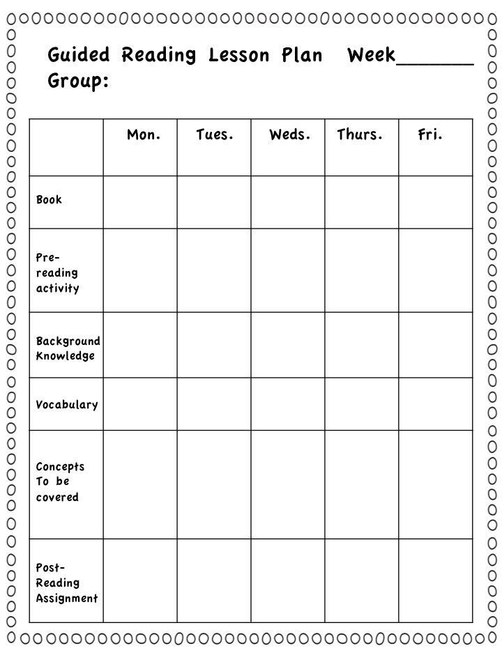 Small Group Planning Template Take A Closer Look at Guided Reading