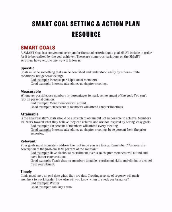Smart Action Plan Template Word Goal Action Plan Template New 11 Smart Action Plan Templates