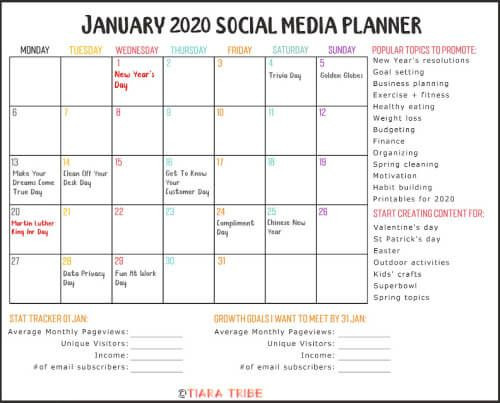 Social Media Content Planner Template Free January 2020 Calendar