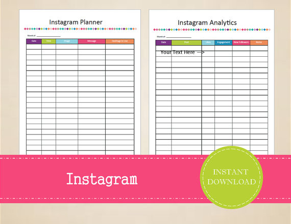 Social Media Content Planner Template Instagram Content Planner social Media Planner Printable
