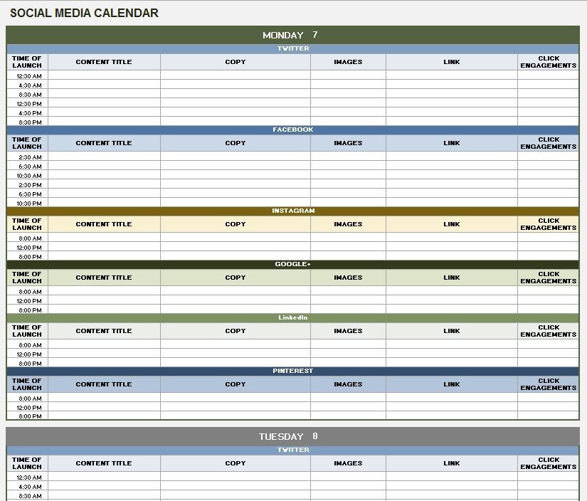 Social Media Content Planner Template Pin by Tipsographic On Free Templates Calendars
