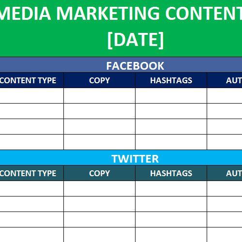 Social Media Content Planner Template social Media Calender Template Excel 2014