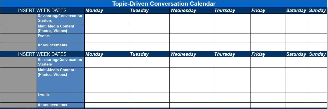 Social Media Content Planner Template topic Driven Conversation Calendar
