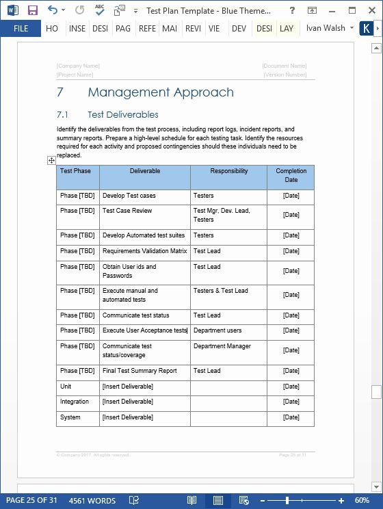 Software Test Plan Template Excel Pin On Business Plan Template for Startups