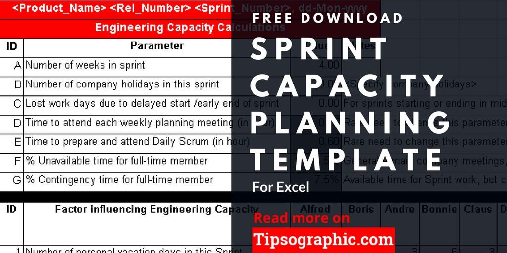 Sprint Planning Template Sprint Capacity Planning Template for Excel Free Download