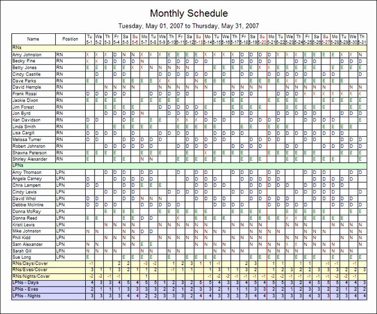 Staffing Plan Template Excel Nursing Staffing Plan Template Awesome Monthly Employee