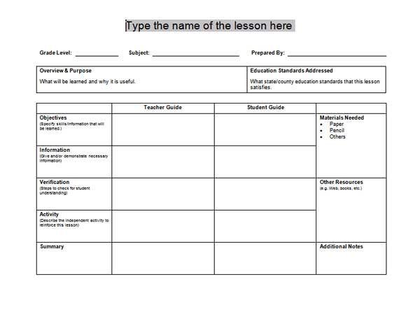 Stem Lesson Plan Template Content 2011