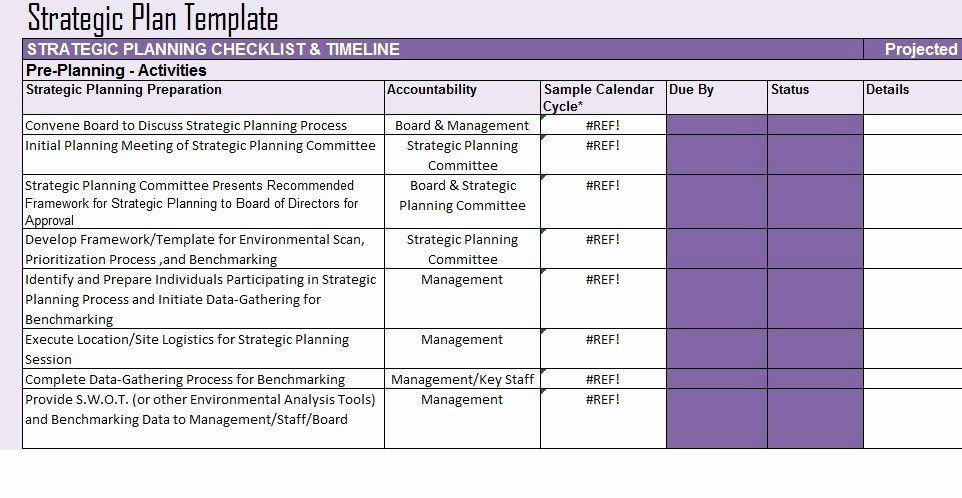Strategic Plan Template Excel Strategic Planning Template Free Inspirational Free