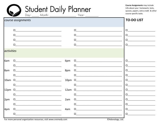 Student Planner Template Free Printable Day Planner Printable