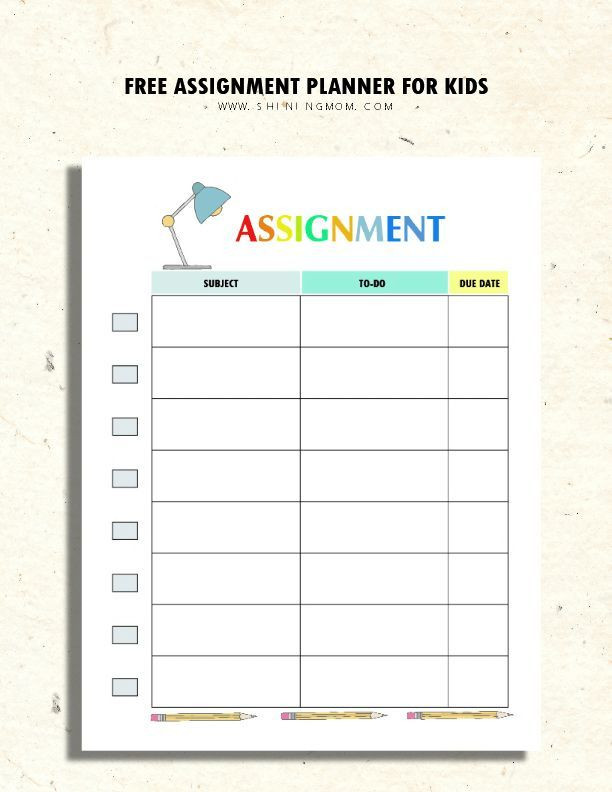 Student Planner Template Free Printable Printable assignment Planner for Kids and Teens