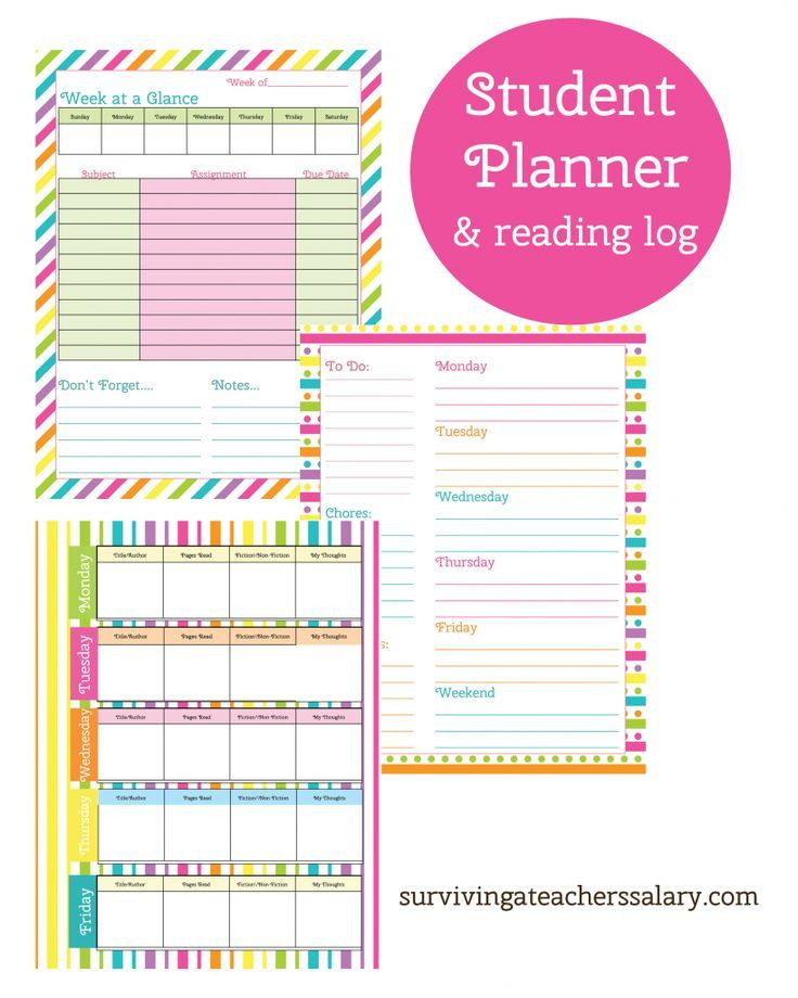 Student Planner Template Free Printable Printable Student Planner and Reading Log