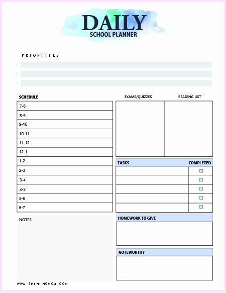 Student Planner Template Free Printable Teacher Daily Schedule Template Free Beautiful Free