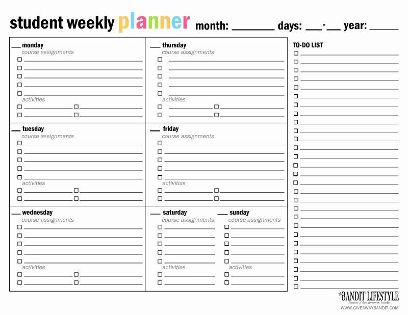Student Planner Template Free Printable Weekly School Planner Template Luxury Printable Student